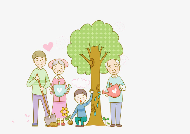 650x461 Family Tree Planting, Cartoon Hand Drawing, Decorative Pattern Png