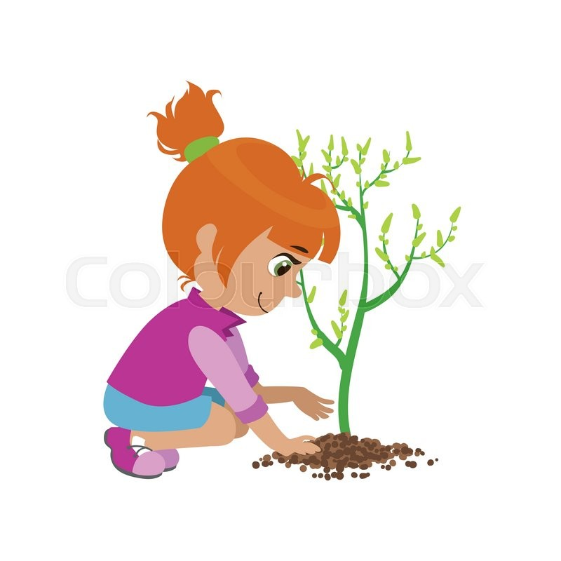 800x800 Girl Planting A Tree Colorful Simple Design Vector Drawing