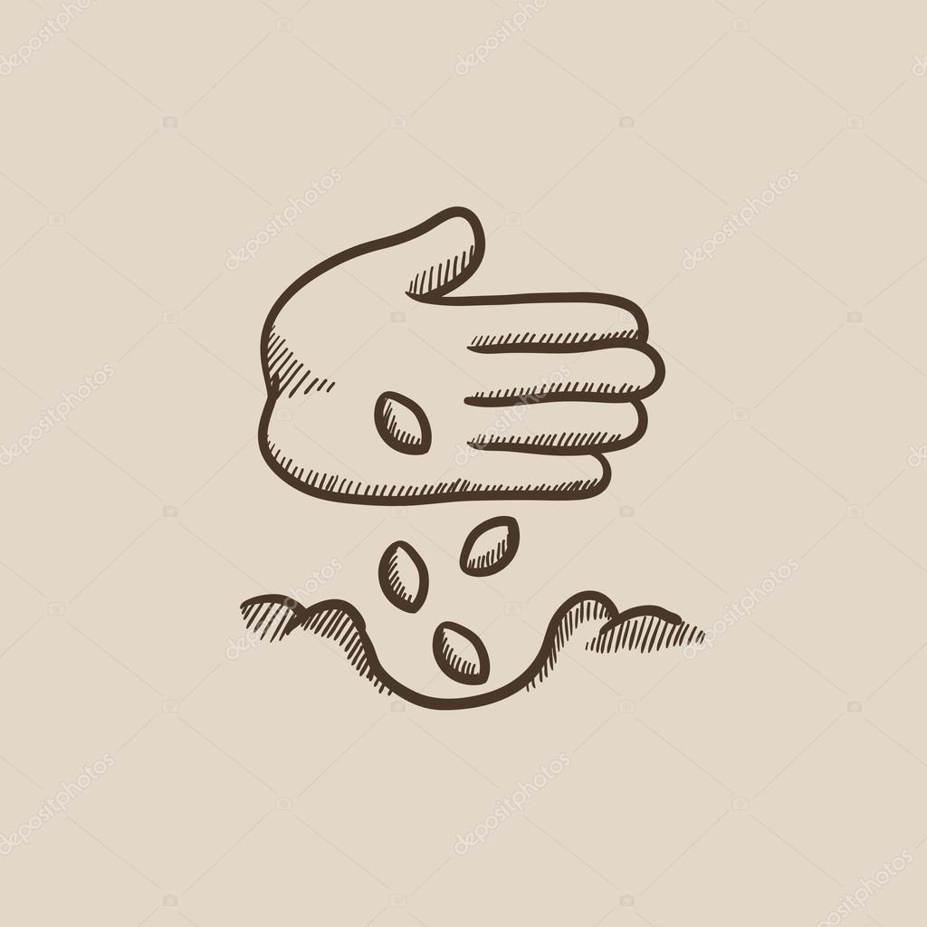 1024x1024 Hand Planting Seeds In Ground Sketch Icon. Stock Vector