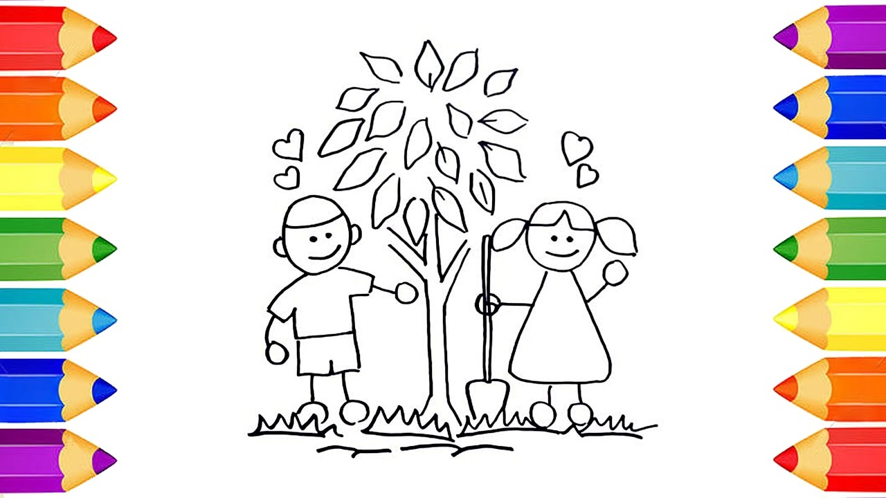 1280x720 How To Draw Kids Planting Trees In The Park Colourful Videos