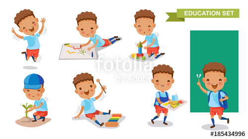 500x281 Kindergarten Children Of Education Set. Jumping, Drawing, Playing