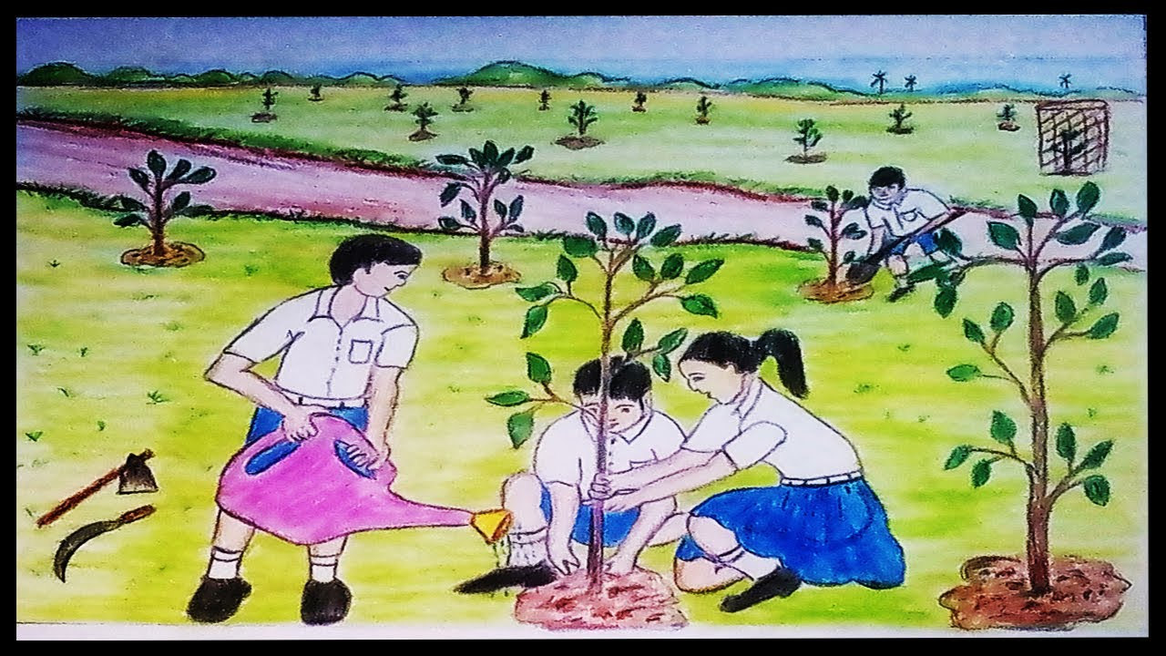 1280x720 How To Draw A Scenery Of Tree Plantation