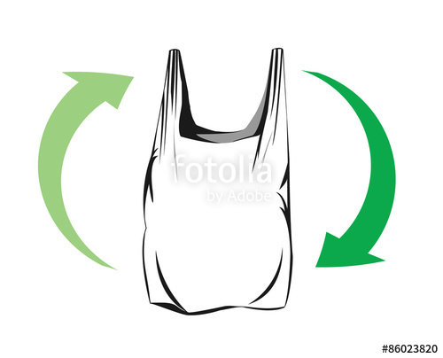 500x404 Vector Drawing Of A Plastic Bag With Green Arrows Representing