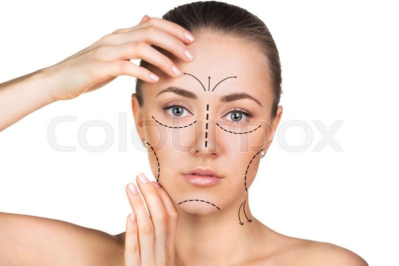 800x533 Beautician Drawing Perforation Lines On Woman Face Before Plastic