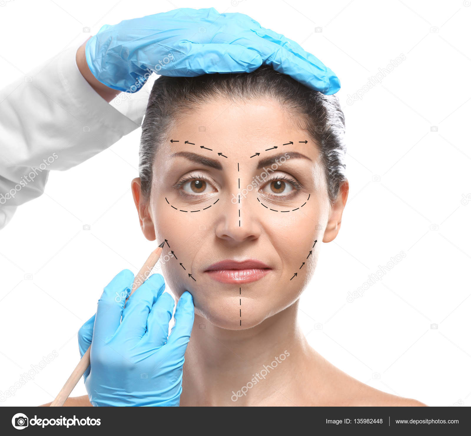 1600x1483 Surgeon Drawing Marks On Female Face Against White Background