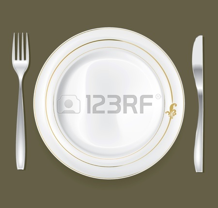 450x428 Empty Dinner Plate, Drawing The Knife And Fork Set Royalty Free