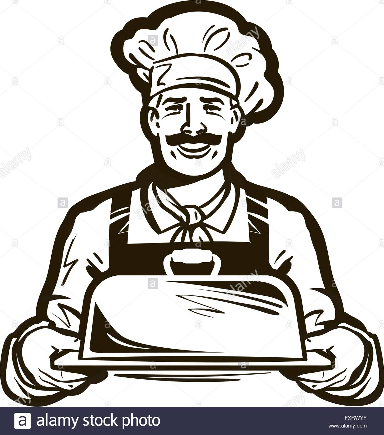 1228x1390 Drawing Of A Chef With Hat And Hot Plate Tray. Hand Drawn Vector