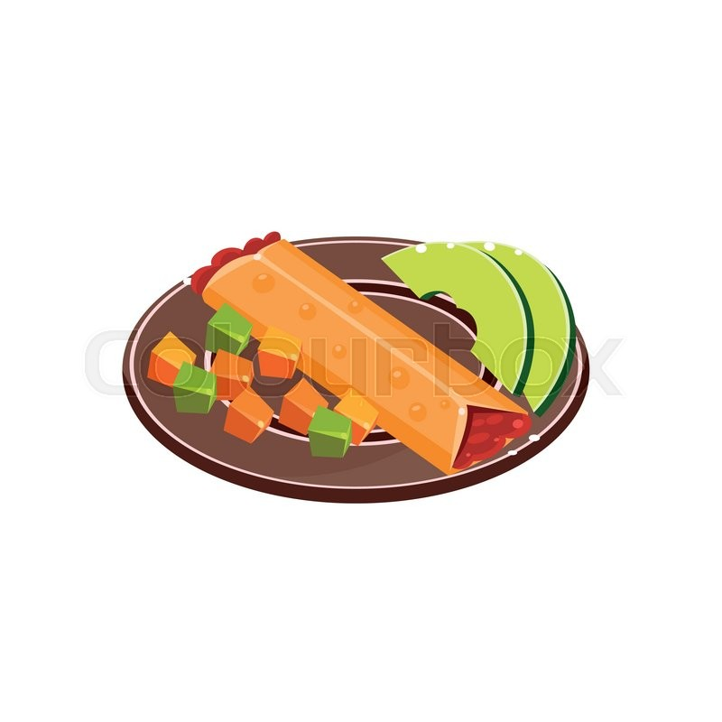 800x800 Burrito On The Plate Traditional Mexican Cuisine Sample Vector