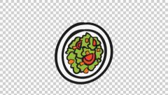 240x136 Food In A Plate Line Drawing Animation Transparent Background ~ Hi