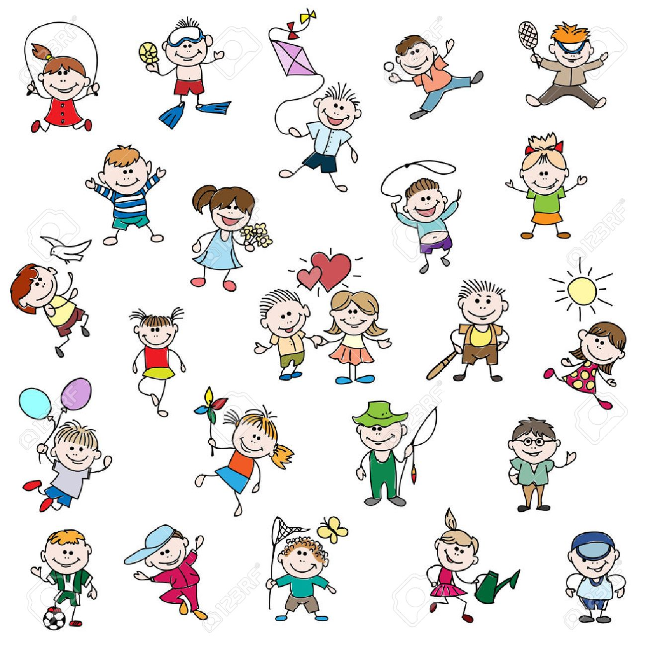 1300x1300 Childrens Drawings Of Doodle People. Children Girl And Boy Cartoon