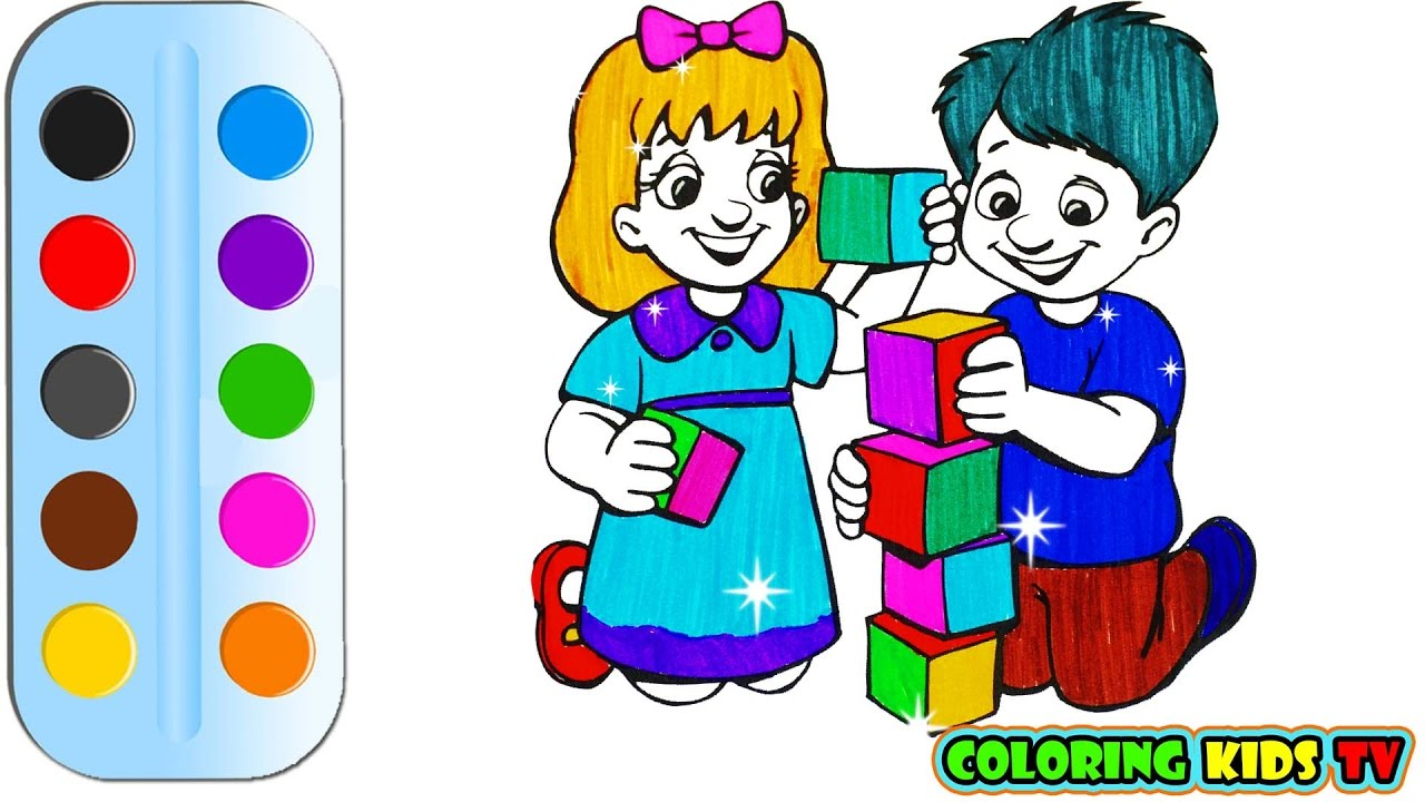 1280x720 Coloring Pages For Kids Girl And Boy Drawing For Children