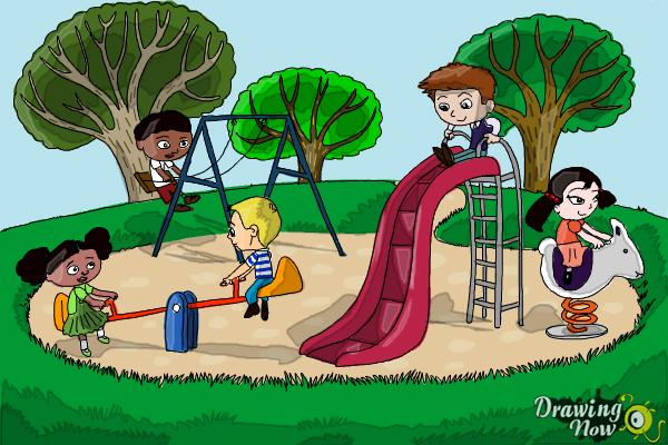 600x400 How To Draw Kids Playing In A Playground