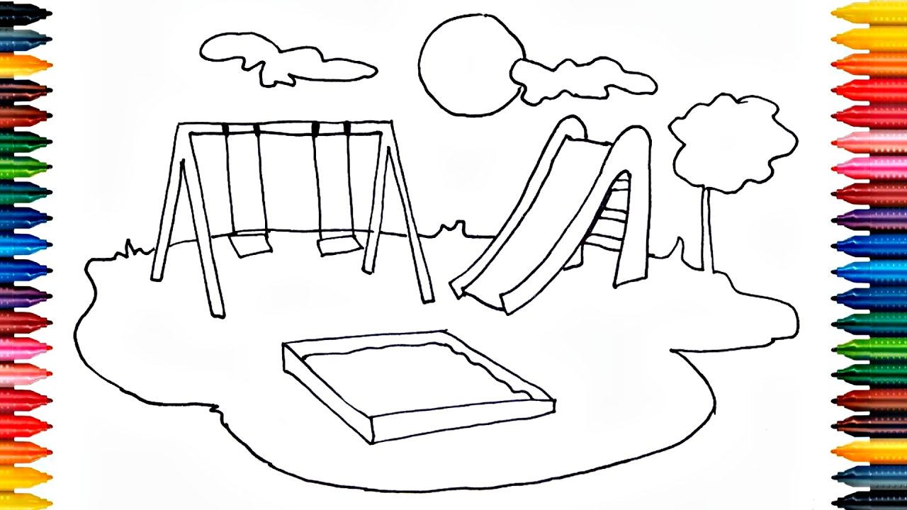 1280x720 Drawing Playground Outdoor How To Draw Playground And Painting