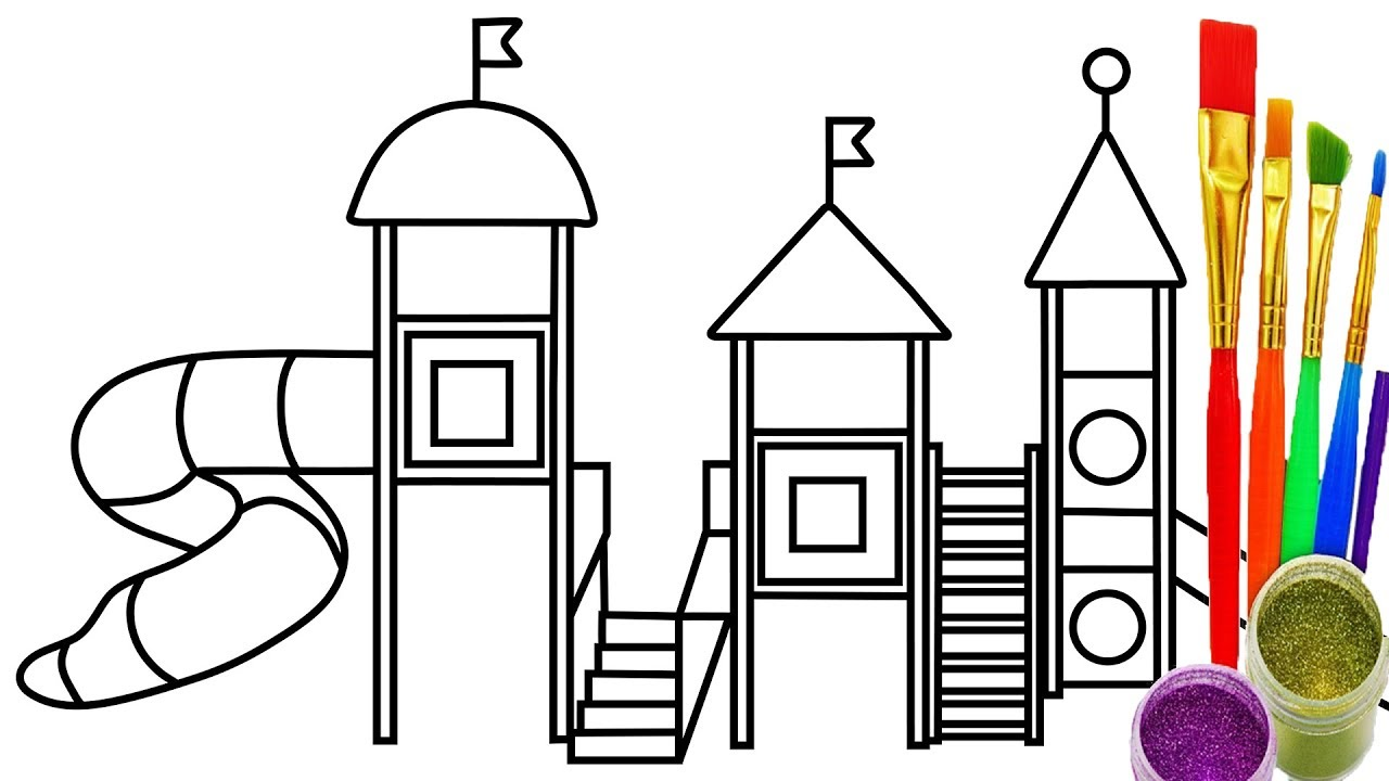 1280x720 How To Draw Playground For Kids Coloring Pages Drawing Learn