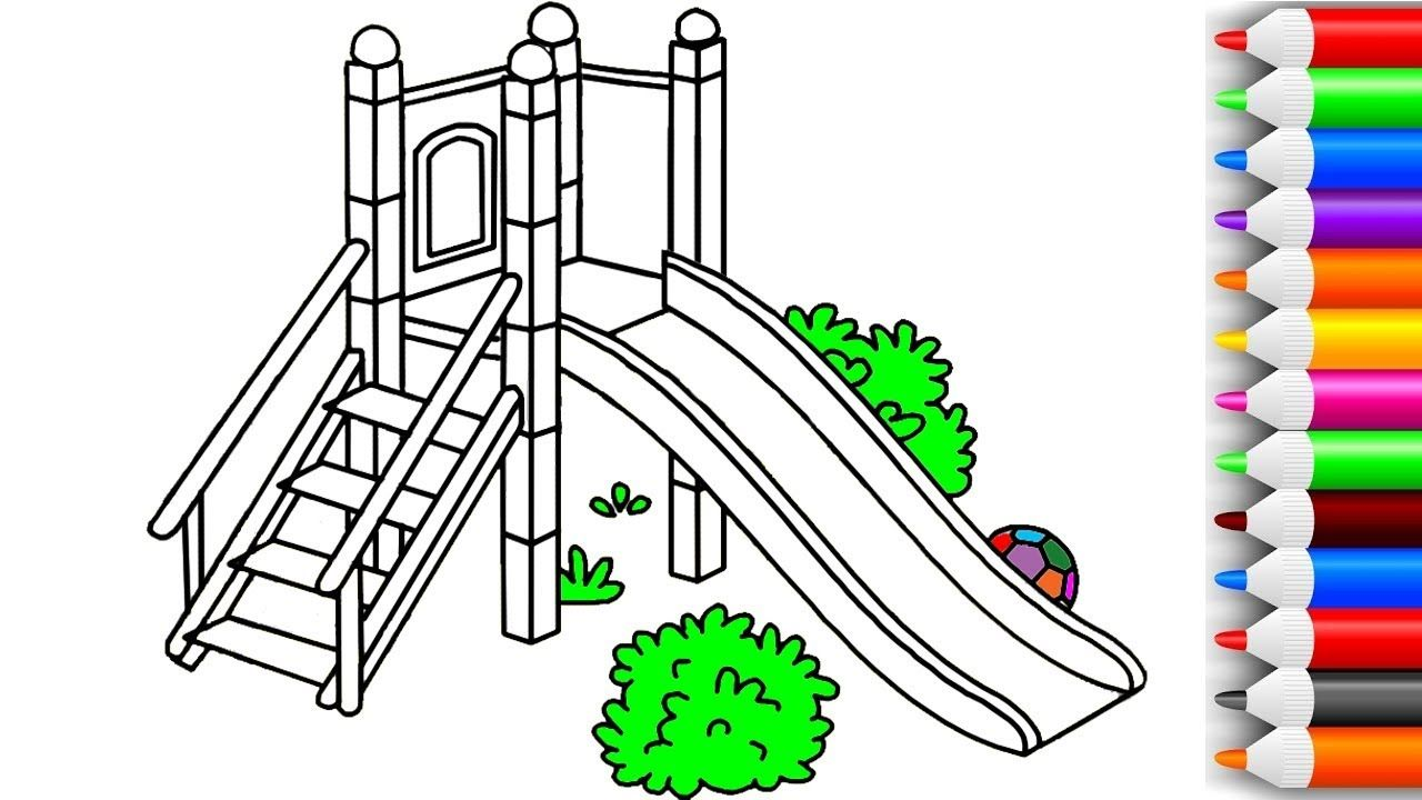 1280x720 How To Draw And Color Slide Playground Coloring Pages For Kids