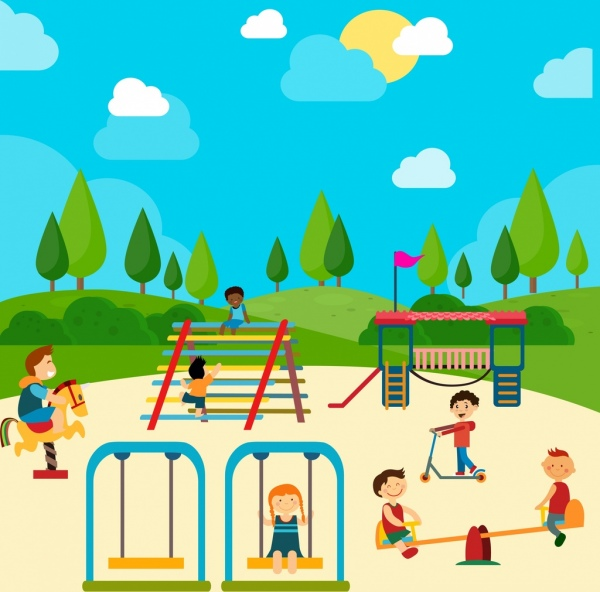 600x592 Playground Drawing Children Icons Colored Cartoon Free Vector