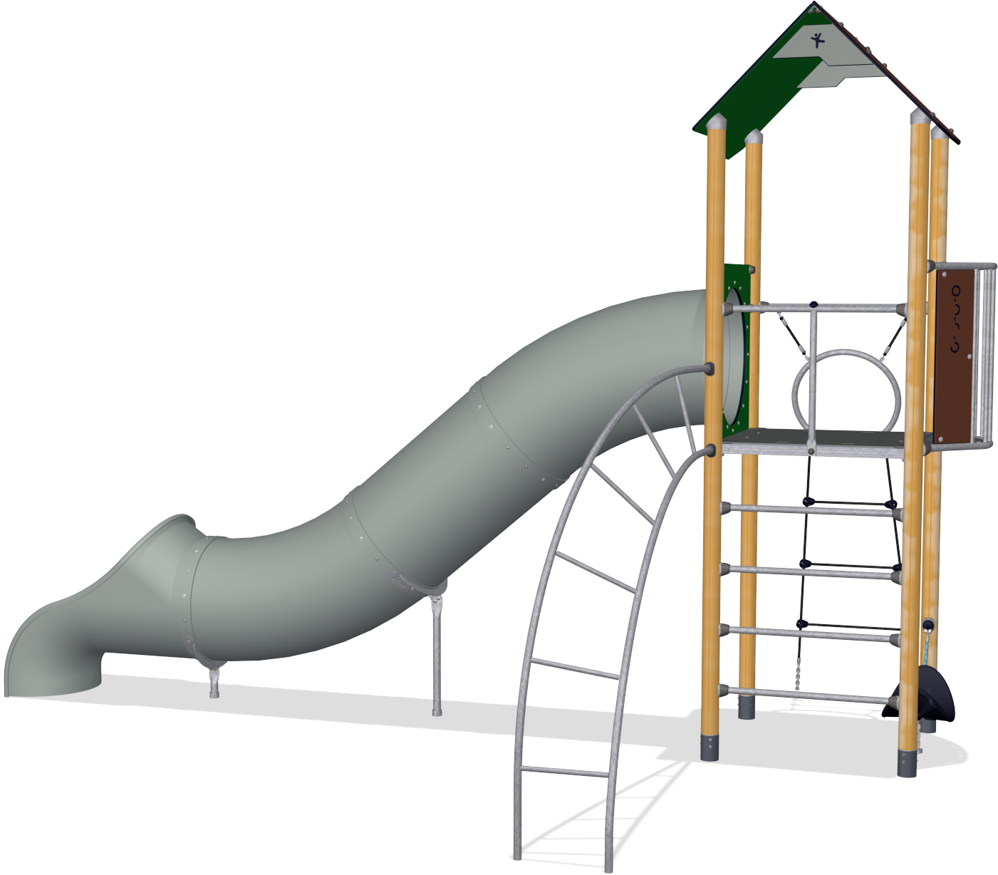 1401x1228 Play Tower With Banister Bars, Basic