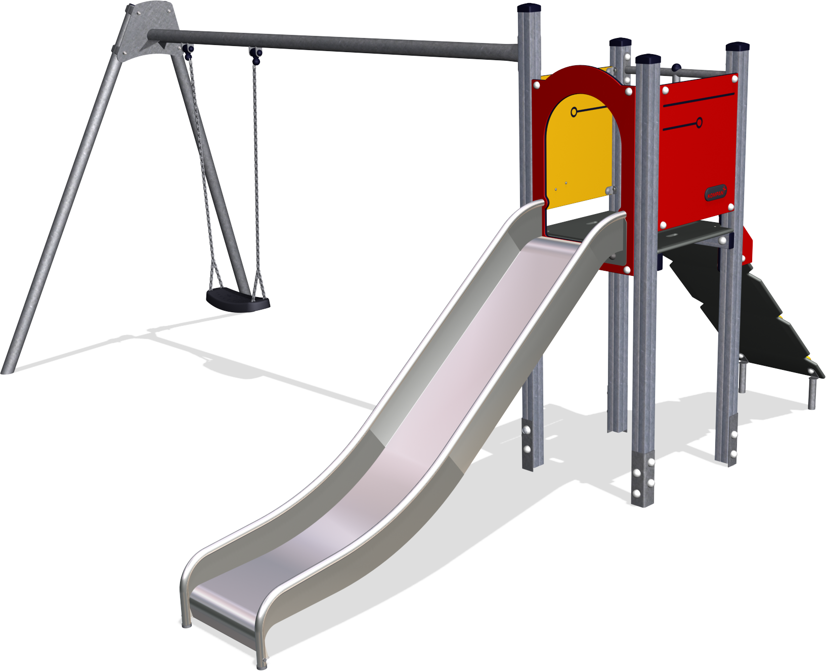 1633x1326 Play Tower With Swing 2,0m, Alu Posts Amp Full Steel Slide