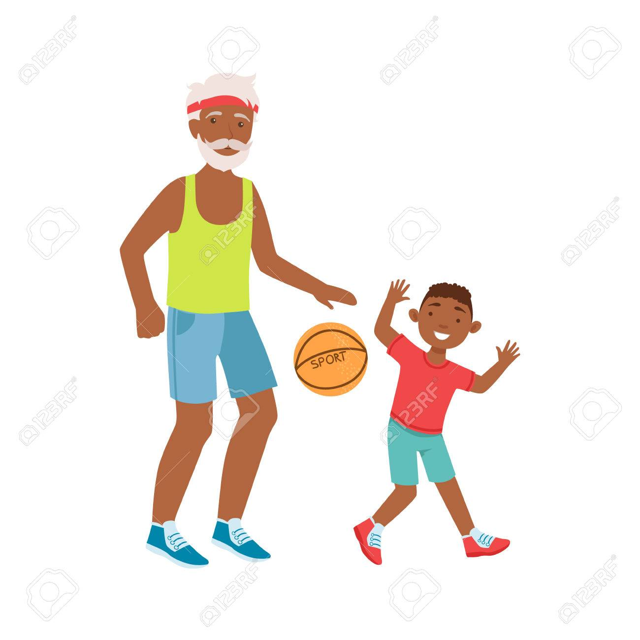 1300x1300 Grandfather And Grandson Playing Basketball, Part Of Grandparent