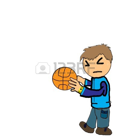 450x450 Kid Drawing A Boy Playing Basketball Stock Photo, Picture