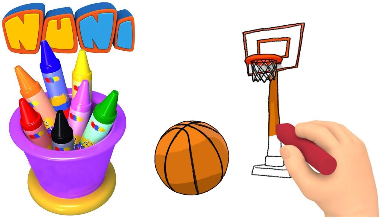 1280x720 Nuni Art Basketball Drawing For Kids Coloring Videos