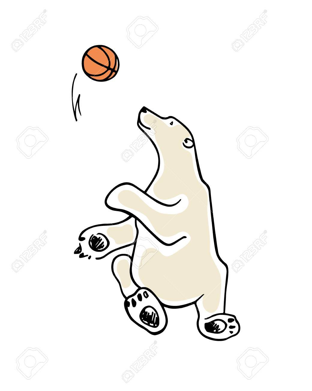 1040x1300 Vector Card With Hand Drawn Cute Polar Bear Playing Basketball