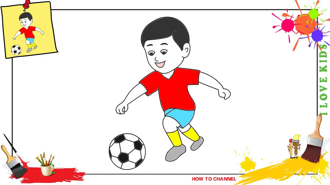 1280x720 Boy Playing Football Drawing How To Draw A Boy Playing Soccer Easy