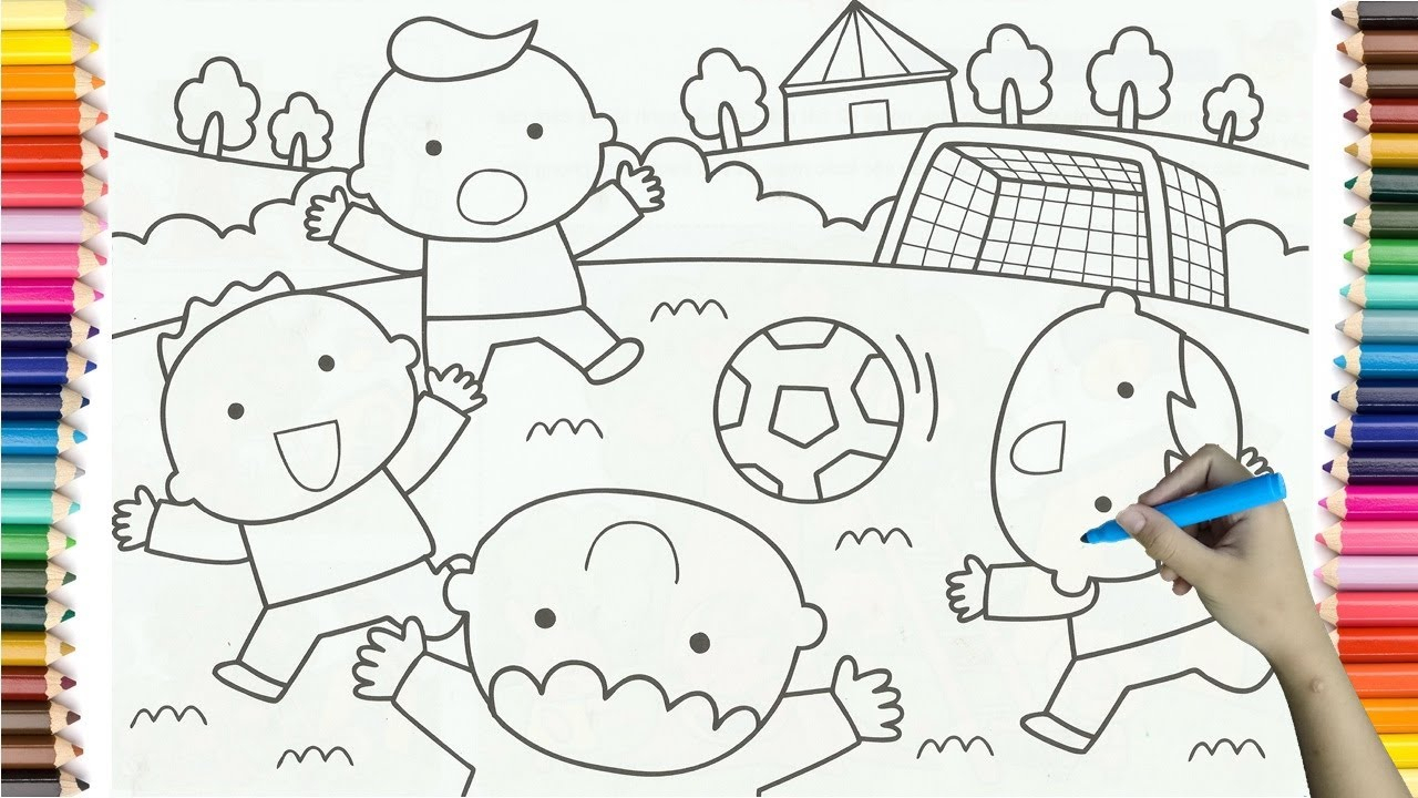 1280x720 Boys Playing Football In Drawing