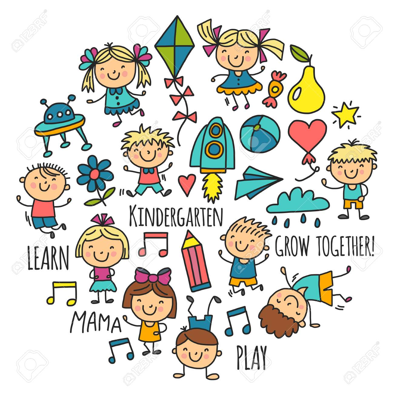 1300x1300 Kids Drawing And Playing Icon Vector Illustration. Royalty Free