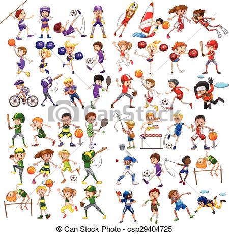 450x459 Kids Playing Various Sports Illustration Vector Illustration