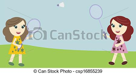 450x245 Nice Girls Playing Badminton In Summer Day Drawings