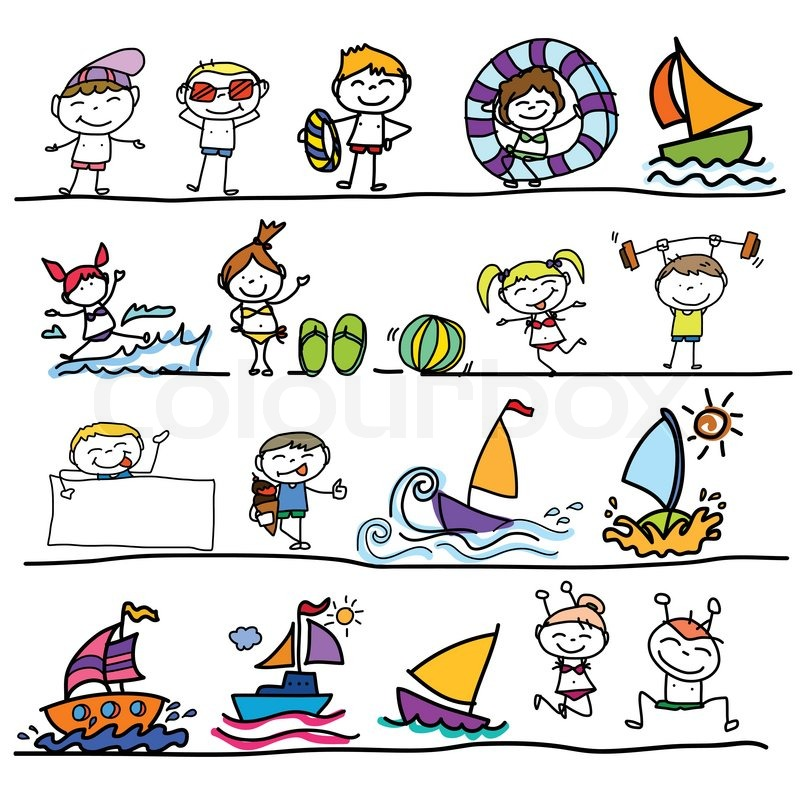 800x800 Hand Drawing Cartoon Character Happy Kids Playing In Summer