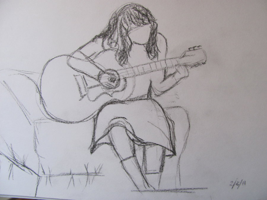 900x675 Playing Guitar Sketch By Abbozzare15