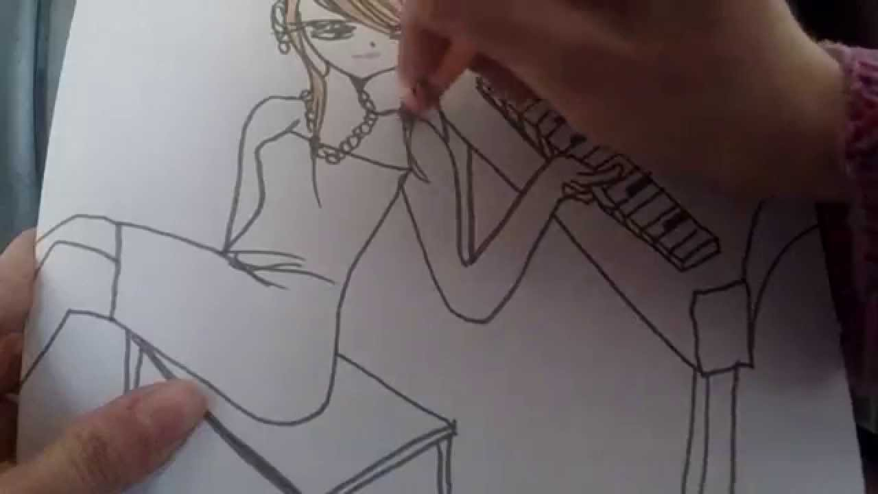 1280x720 How To Draw Anime Girl Playing Piano