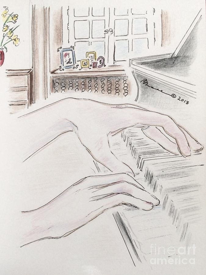 675x900 Piano Hands Drawing By Barbara Chase