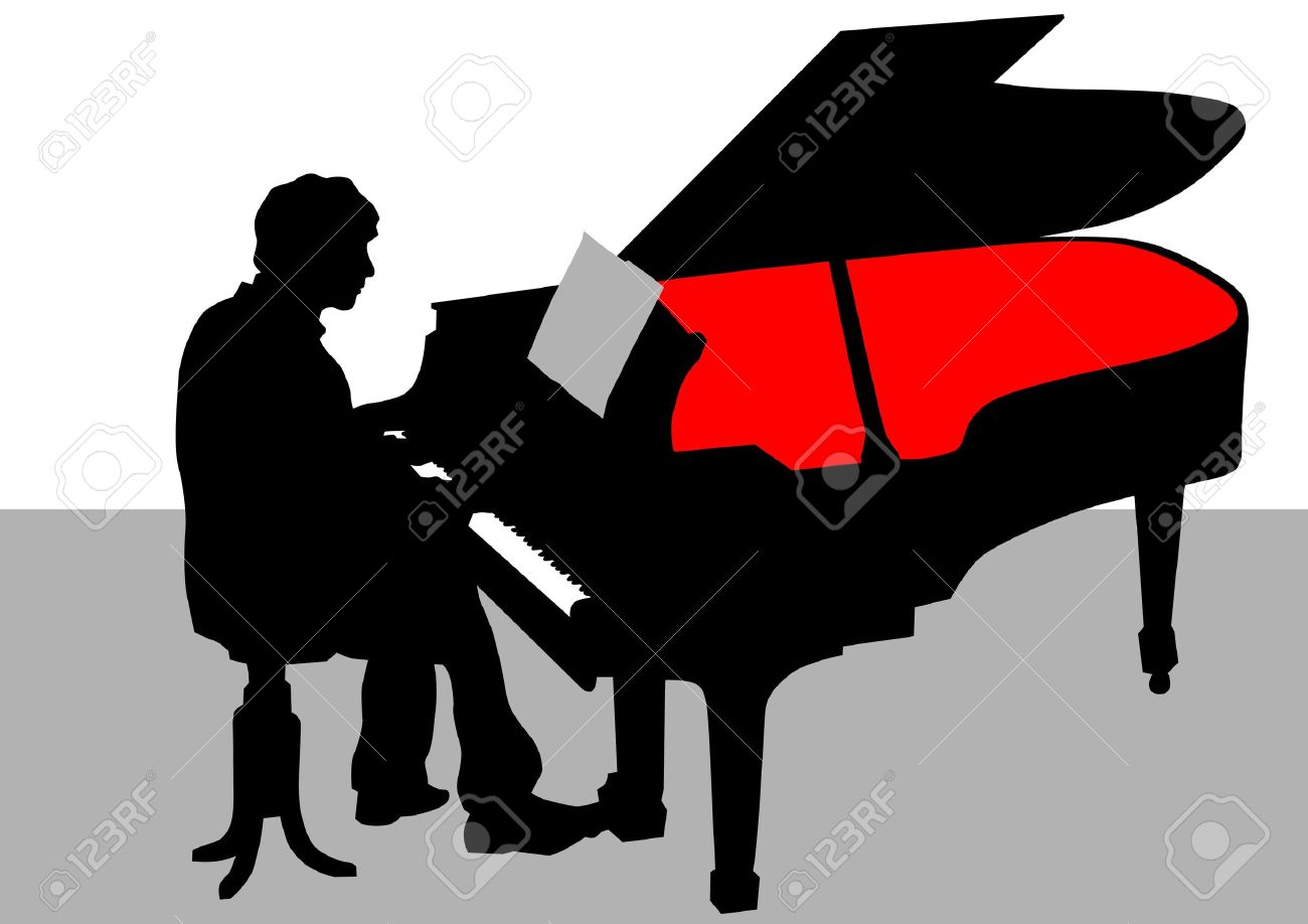 1300x918 Vector Drawing Of A Man Playing Piano On Stage Royalty Free