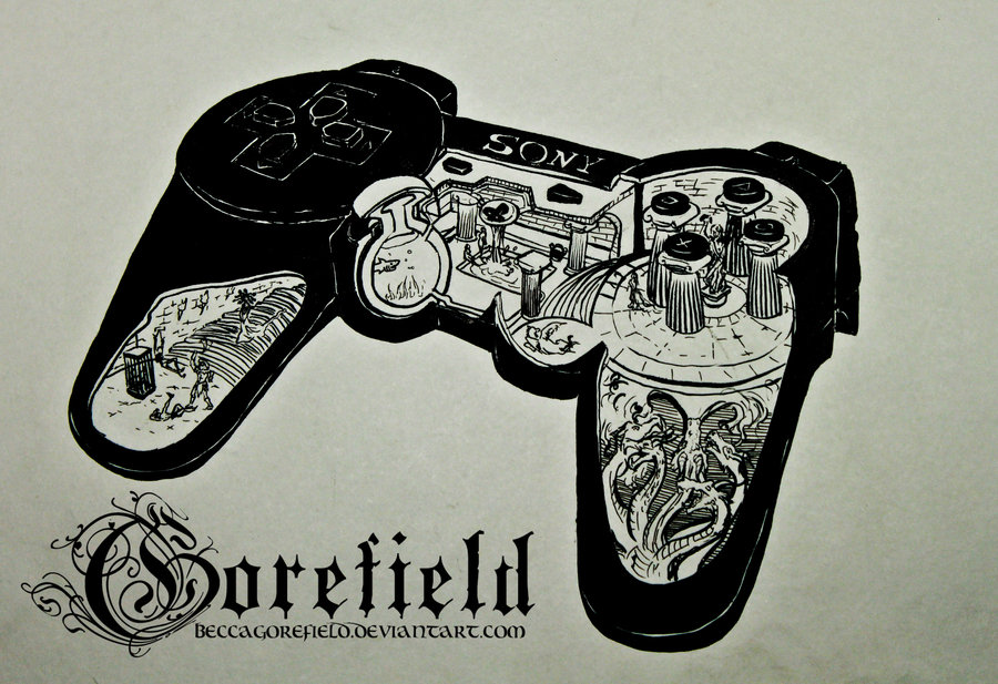 900x617 Cross Sectional Illustration Of A Ps3 Controller By Beccagorefield
