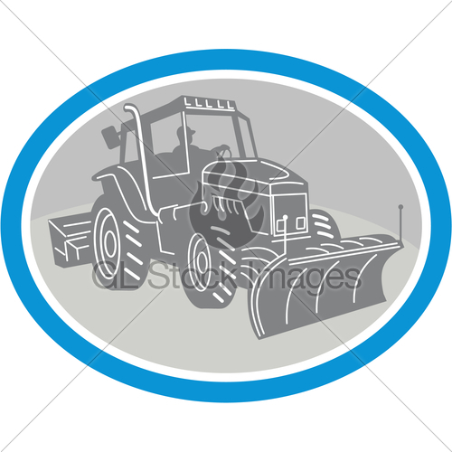 500x500 Snow Plow Truck Oval Retro Gl Stock Images