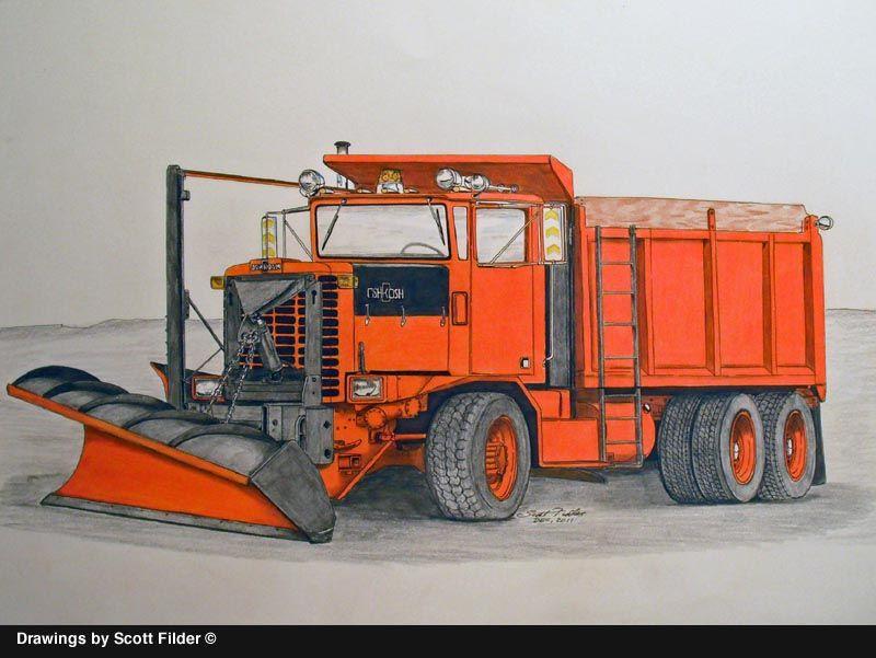 800x601 Truck Drawings By Scott Filder Oshkosh Snowplow.jpg Pixels