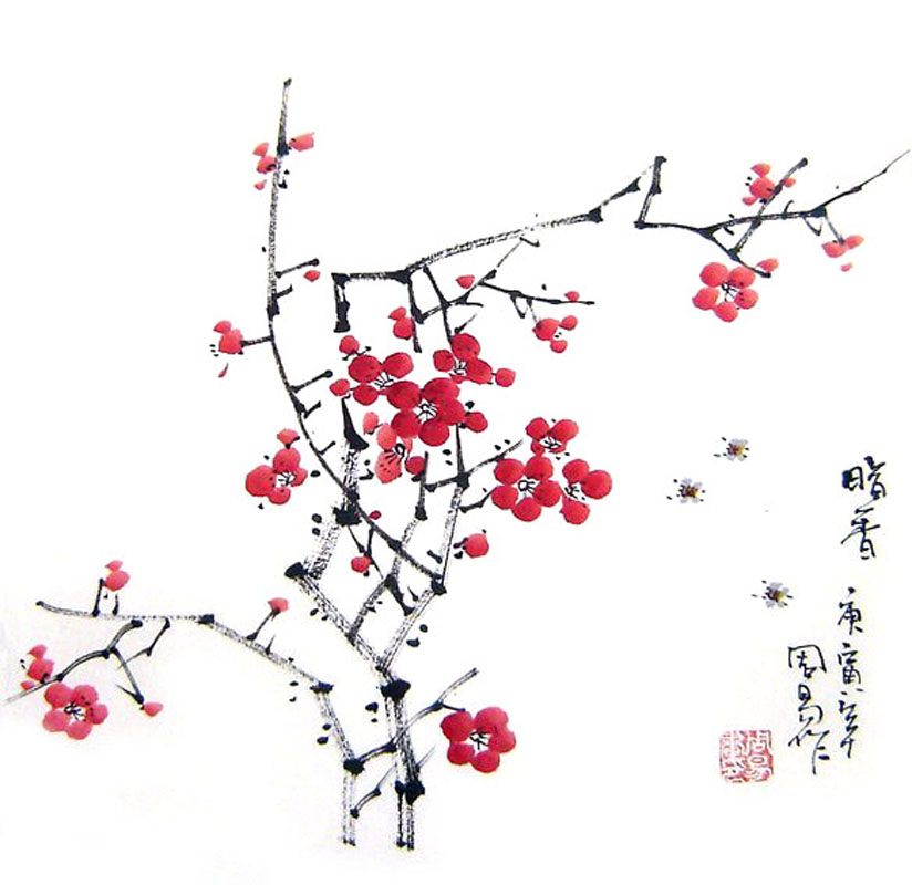 824x800 Chinese Plum Blossom Painting Bird And Flower 2396001, 33cm X 33cm