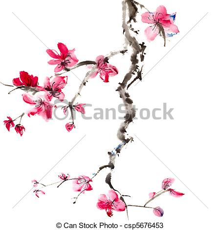 450x470 Chinese Painting Of Flowers, Plum Blossom, On White Drawings
