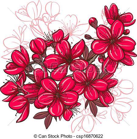 450x458 Decorative Floral Illustration Of Plum Blossom. Vector