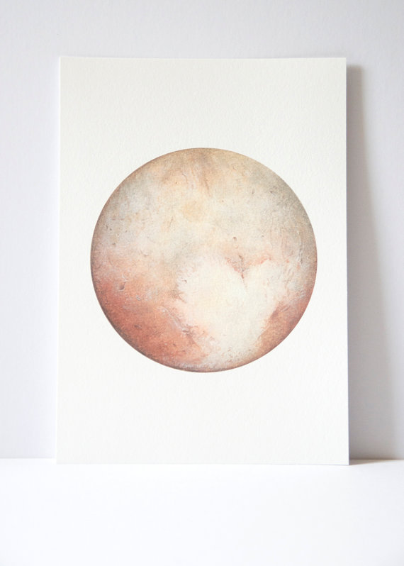 570x798 Pluto Watercolour Planet Art Planet Watercolor Moon Print