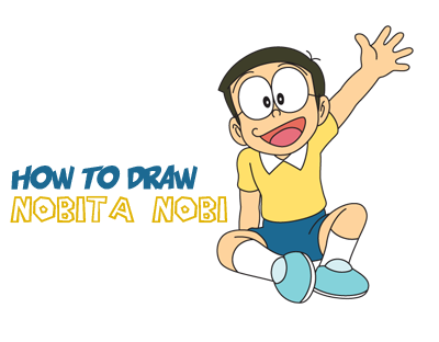 400x312 How To Draw Nobita Nobi From Doraemon With Easy Drawing Tutorial