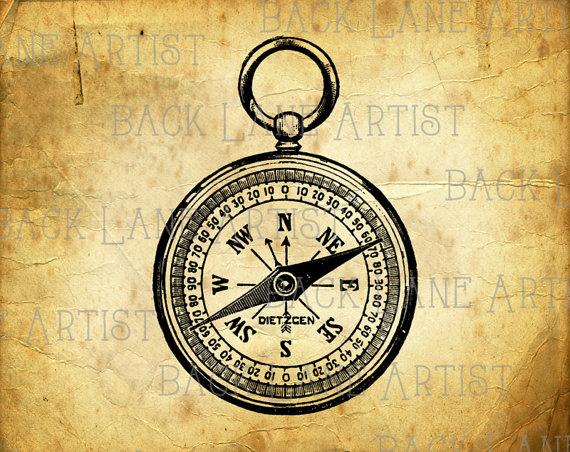 570x452 Vintage Pocket Compass Clipart Lineart Illustration Instant