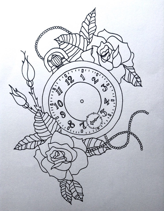 570x735 Pocket Watch Line Drawing Printed On A4 300gsm Card