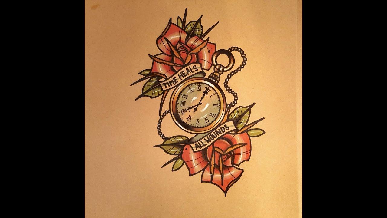 1280x720 How To Draw A Pocket Watch Tattoo