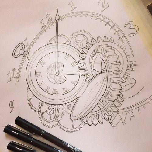 500x500 Broken Pocket Watch Drawing
