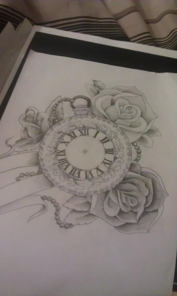 692x1155 Custom Pocket Watch And Rose Design For Client. Banner To Be Left
