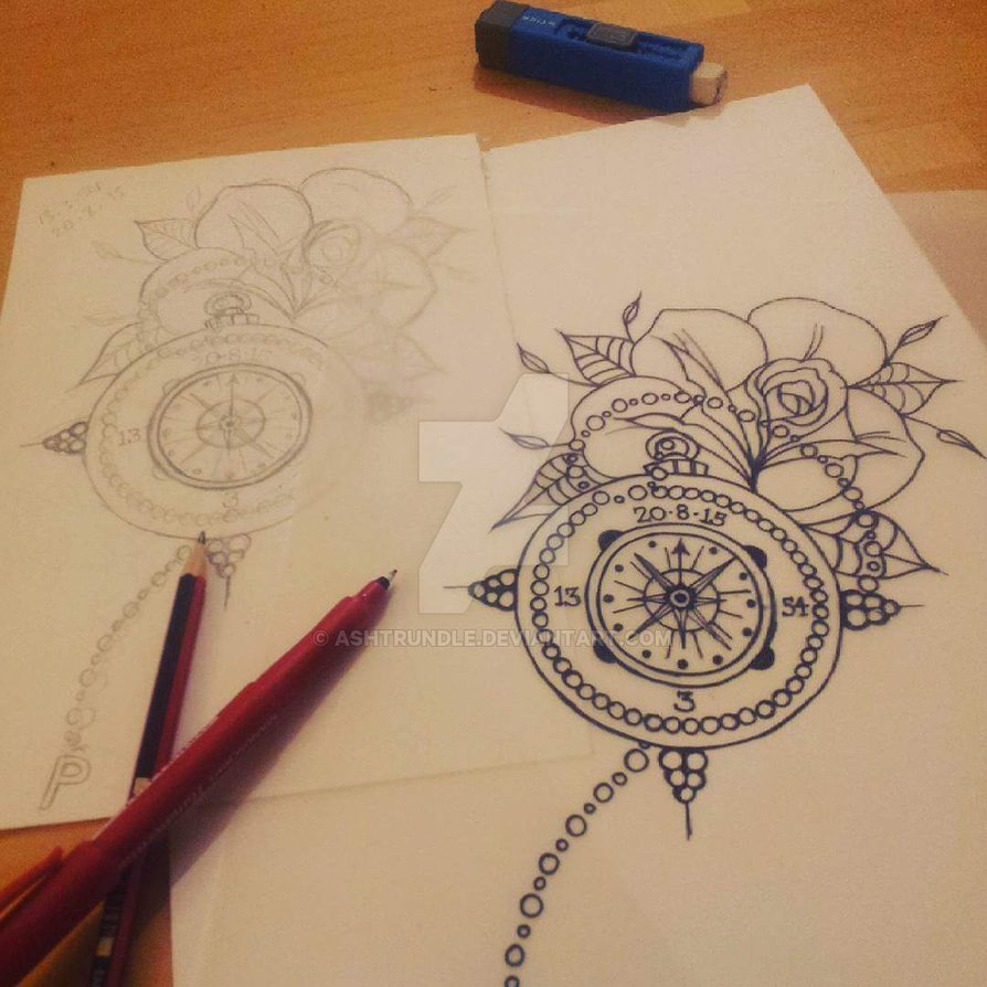 894x894 Line Drawing Pocket Watch And Rose By Ashtrundle